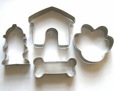 Dog Bone Paw House Hydrant Fondant Biscuit Stainless cookie cutter set 448
