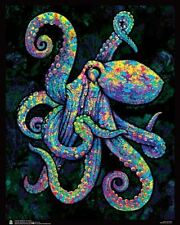 Painted Octopus Flockless Blacklight Reactive Poster (16x20) ** NEW **