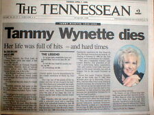 BEST 1998 Nashville TENNESSEE newspaper DEATH of TAMMY WYNETTE Stand By Your Man