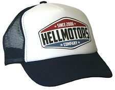 Hell Motors Trucker Cap Navy Bianco Hot Rod US Car Old School Biker Berretto Cappello Nuovo