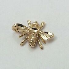 14K Yellow Gold 3D Tiny Bumblebee Bee Charm Pendant 0.7gr