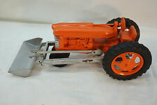 VINTAGE HUBLEY TRACTOR TOY DIECAST METAL FARM RUBBER TIRES USA ORANGE LOADER 50s