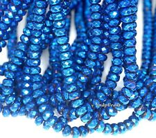 6X4MM BLUE HEMATITE GEMSTONE BLUE FACETED RONDELLE 6X4MM LOOSE BEADS 16""