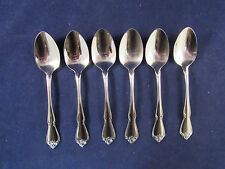 SIX - Oneida ARBOR ROSE - TRUE ROSE - ROSE SONG 18/8  Stainless Teaspoons * USA