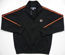 FRED PERRY UK MENS MEDIUM FULL ZIP TRACK SWEATER JACKET BLACK ORANGE STRIPE LOGO