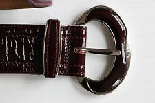 BNWOT TOD'S Crinkled Patent Leather Belt Burgundy Red 80 CM Silver Buckle