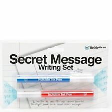 Secret Message Set Invisible Ink Pens Writing Notes UV Light Creative Kids Gift
