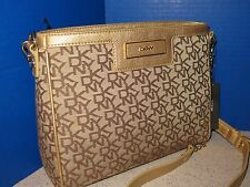 DKNY Vintage PU Logo Plaque Chino Jacquard Gold Leather Crossbody Clutch