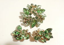 BEAU JEWELS Unsign GREEN SATIN NAVETTE GOLD LEAF Crystal BROOCH PIN/EARRING Lot3