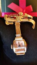 Ladies14k Solid Gold Diamond Ruby Bulova Art Deco Pendant Watch, Ca. 1945. Mint!
