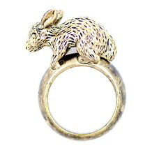 Vintage retro style 3D antique bronze coloured bunny rabbit ring, UK Size O