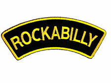 Rockabilly Gold Rock N Roll Embroidered Sew Iron On Jeans Shirt Bag Badge Patch