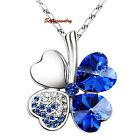 18k White Gold Plated Deep Blue Swarovski Crystal Four Leaf Clover Necklace N148