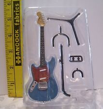 MINIATURE FASHION DOLL #7 FENDER BLUE & RED MUSTANG GUITAR W STAND NEW 5 INCHES