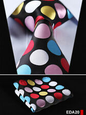 "Dot 3.4"" Silk Woven Wedding Men Pocket Square Tie Necktie Handkerchief Set EDA"