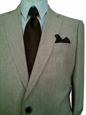 ENZO 2B NOTCH MEN'S SUIT BEIGE LINEN 42R 42 R FREE FAST SHIP & TIE SET