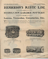 1920s Advertising Flier for Henderson's rustic Line of Garden Pottery for Lawns