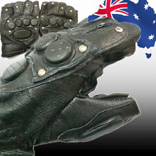 Leather Half Finger Gloves Fingerless Men's Sports Cool Black CGLOV8975