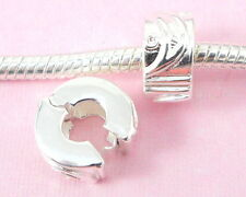 10pcs Silver Plated Clip Lock Stopper Beads Fit European Charm Bracelet K4