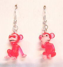 "NEW Red Mini Funny Silly Goofy Cute Monkeys Apes Toys 1"" Dangle Earrings"
