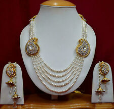 Pearl Necklace Easrrings Indian Bridal Fashion Jewellery Gold Tone CZ Sets f44n7
