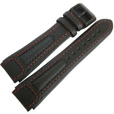 22mm Di-Modell Chronissimo Long Black Red Leather PVD BUCKLE Watch Band Strap