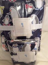 Pottery Barn Kids Navy Penguin Flannel Twin Duvet & 1 Std Sham NWT! Winter Xmas