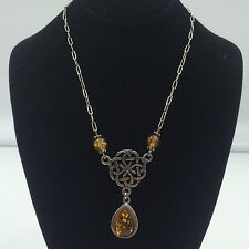 Sterling Silver 925 Celtic Knot & Amber Pendant Necklace 16""