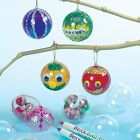 6 x Clear 2 Part 5cm Plastic Christmas Baubles + Gold Cord Xmas Craft Gift New