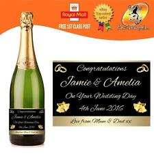 PERSONALISED WEDDING CHAMPAGNE PROSECCO BOTTLE LABEL