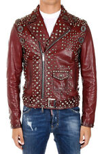 Handmade Reddish Color Leather Jacket With Silver Studded For Men