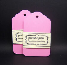 100 Blank Scallop Gift Tags - Pink - Handmade Cardstock Paper Hang Party Favor