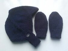 HAND KNITTED BABY HAT & MITTS - BIRTH TO 3 MONTH NAVY BLUE