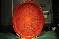 ART DECO / FOLK ART - VINTAGE METAL SERVING TRAY -  NEW IN THE BAG -  RED BACK