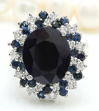 9.00CTW Natural Blue Sapphire and DIAMOND in 14K Solid White Gold Women Ring