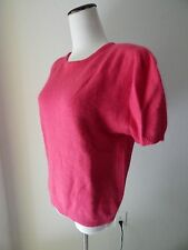 SOFT Hot Pink Wool Angora Short Puff Sleeve Pullover Sweater Womens Size M