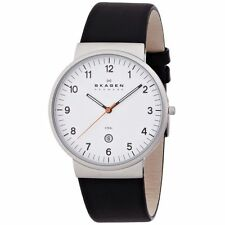 New Skagen Men's Ancher Relaxed Silver Tone Black Leather Watch SKW6024