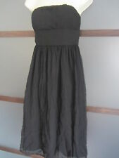 J Crew Dress Sz 4 SILK Black Strapless Chiffon Empire Waist Support Cocktail