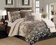 12 Pc Brown Beige Bamboo Palm Tropical Comforter Set CAL KING Size Bed-in-a-Bag