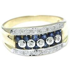 Blue Sapphire & 19 Diamond 9ct 9K Solid Gold Ring, SZ O/7.5 - 30 Day Returns