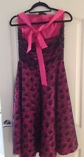 new hell bunny rock n roll pink black Lace halter neck Gown dress