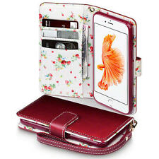 Premium PU Leather Wallet Case for Apple iPhone 7 - Red Floral