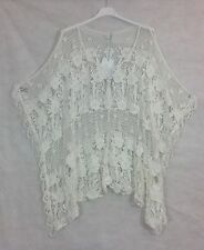 PLUS SIZE Ladies Italian Lagenlook Layering Batwing CROCHET BOXY Poncho Top WHT