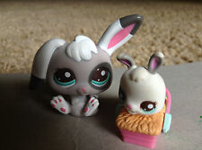 Littlest Pet Shop #2668 #2669 bunny rabit Mom and Baby white gray w/ teal eyes