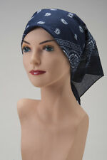 CHEMO Bandana Scarf  NAVY BLUE White Turban Hat Cap For Cancer Patient Headcover