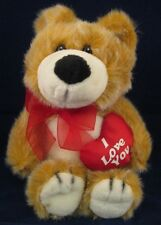 Valentine  I Love You Bear Teddy Plush Red Bow Heart Pillow Lovey 18p7 Stuffed
