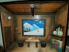 VTG Hanging Swiss Alps Ski Cabin Chalet Wood Shadow Box Diorama Detailed 3D