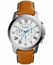 Fossil Men's FS5060 Grant Stainless Steel Watch with Brown Leather Band New BOX