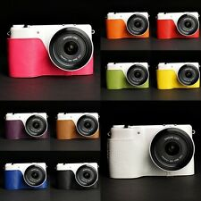 Handmade Real Leather Half Camera Case Camera bag for Samsung NX2000 10 colors