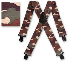 "Brimarc Mens Braces Heavy Duty Suspenders 2"" 50mm Wide Woodland Camo Braces"